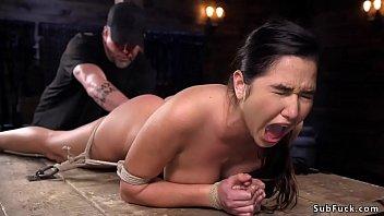 Hogtied brunette slave Karlee Grey tied up and spreaded by master