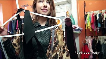 Babe fucking in changing room in public