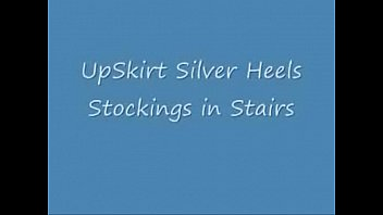 UpSkirt Silver Heels Stockings in Stairs (2)