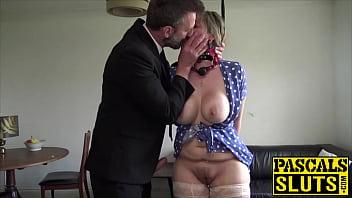 Ball gagged seductress cumblasted