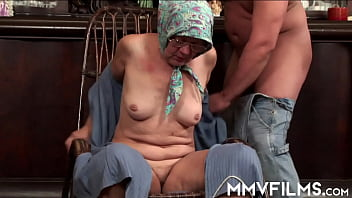 Trashy European granny in glasses licking a guy's asscrack and giving deepthroat for facial cum