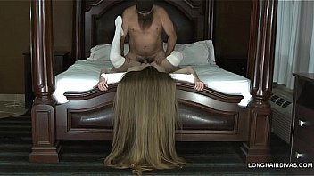 longhaired blonde milf wearing thigh high knit stockings fucked on the bed