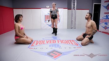Naked wrestling fight with Daisy Ducati vs Oliver Davis ending with hard rough sex at Evolved Fights