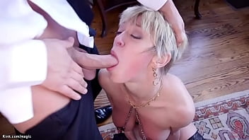 Young boyfriend Seth Gamble with big cock fucks mouth to blonde big tits MILF girlfriend Dee Williams then disciplines her stepdaughter Aspen Ora in bondage family threesome roleplay
