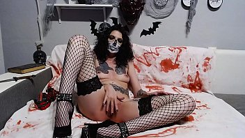 Halloween insertion live show skull masked girl part 2