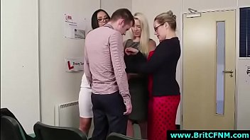 UK office babes stripping off CFNM guy