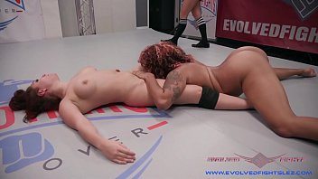 Gabriella Paltrova rough strapon fucking during lesbian wrestle match at Evolved Fights Lez