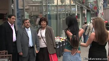 Hot big fake tits brunette slave Angelica Heart takes bondage tour of the city by Zenza Raggi and Harmony Rose then fucked in hidden places Thumbnail
