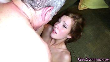 Teen slut fucking friends stepdad before getting cumshot facial
