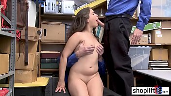 Sexy brunette young girl banged by a policeman and his friend