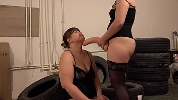 Lesbian satisfies a fat girlfriend. Licking a hairy pussy and riding on a huge dildo, shaking big booty and natural tits.