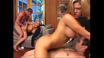 Sexy blonde MILFs Ana Nova and Faith Grant get fucked hard by two guys
