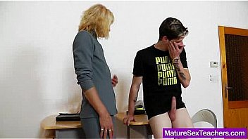 Old mature teacher teases young boy