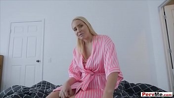 I woke up late for schl so my stepmom came into my room to try and get me out of bed and she could only talk about how much she loves my cock