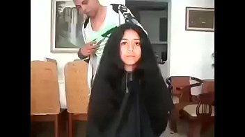 A Moroccan girl shaved her long hair