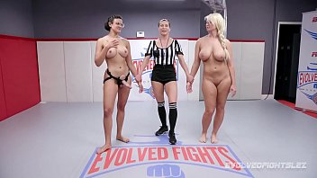 Penny Barber lesbian wrestling London River with pussy eating and fingering and a strapon sex prize to one girl