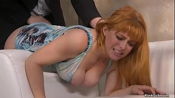 Husband Seth Gamble bends over couch hot natural big tits wife Penny Pax and spanks her then with big cock fucks her pussy and ass in bondage