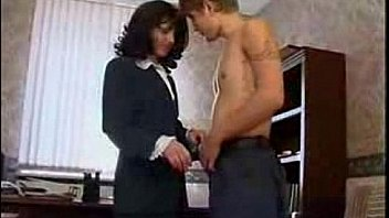 Milf and young guy in the office