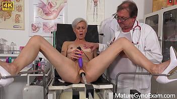 Perverted gyno exam and fucking machine orgasm of horny cougar Belinda Bee