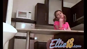 Ellie 18 naked in the kitchen