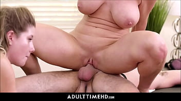 y. Stepdaughter And Her Big Tits MILF Stepmom Fucked By Masseur With Facial