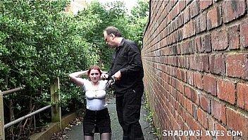 Redhead amateur Sacha in public bondage and humiliating outdoor domination