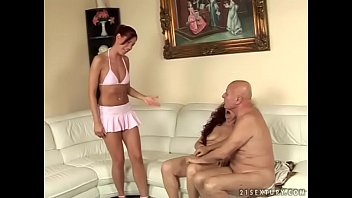 Kinky old and young threesome