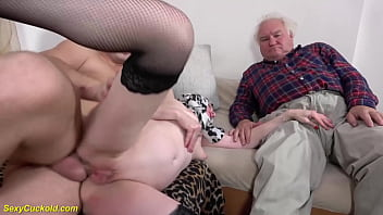 ugly grandma gets first time cuckold rough anal banged in front of her husband