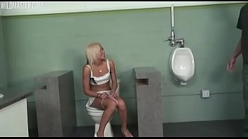 Stranger catches her touching her pussy in the toilet and fuck her