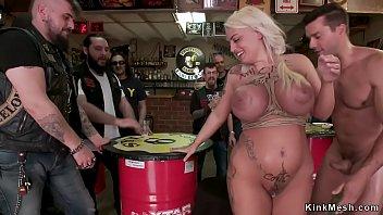 Alt blonde Euro slut double penetration fucked in public bar
