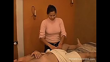 Hispanic massage therapist gives me a handjob