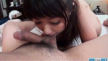 Kii swallows warm jizz after sucking cock like crazy