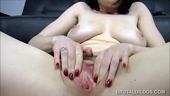 Samantha Bentley devours huge dildos with her pink pussy