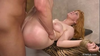 Big cock husband Seth Gamble bound arms of natural big tits wife Penny Pax in box tie and fucks her pussy then pounds her asshole in various positions