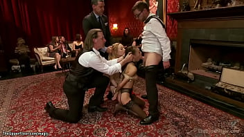 Small tits blonde Emma Haize is promoted to House Slave and with newbie Janice Griffith made to suck big dick till got cumshot at bdsm party