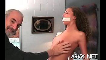 Amateur bondage with breasty aged