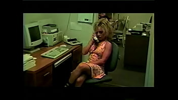Playful blonde secretary Montana Gunn  with big melons needs to finish urgent work for her boss after working hours