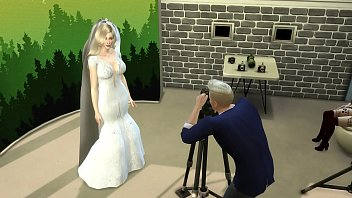Just Married Wife In Wedding Dress Fucked In Photoshoot Next To Her Cuckold Husband Netorare