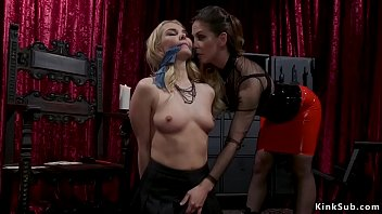 Bdsm domme brunette Cherie DeVille in tight red latex mini skirt dominates gagged and tied blonde bff Aaliyah Love then anal fingers her and vibrates