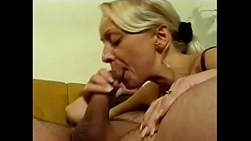 Blonde young hottie eats thick cum after great blowjob
