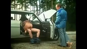 Classic vid where men help fix her car and she let's them fuck her as paymen
