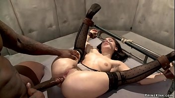 State Doctor Gabriella Paltrova is sent to black prisoner Rob Piper to evaluate him and soon after she is bound and anal fucked by his big black cock