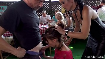 Euro brunette babe d. in public by mistress in leather black dress