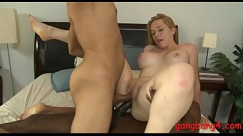 Nasty big boobs blonde woman Kristen Kross dped in her pussy and ass by big black cocks while giving blowjob