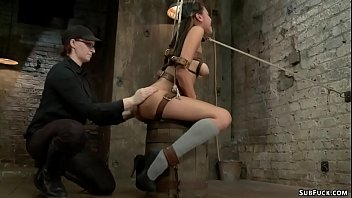 Hot ass and nice pair of tits brunette lesbian slave Jayden Lee is set and strapped then butt spanked by lezdom Claire Adams on hogtie