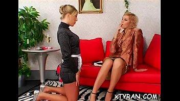 Nasty mistress sucks slave's hard shlong and rides him coarse
