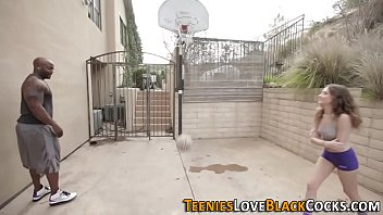 Skinny teen banged doggystyle with bbc after playing basketball