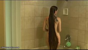 Naked girl having shower on secret cam