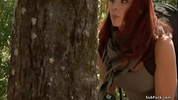 Journalist Chanel Preston is caught while investigate ritual sacrification in woods and in group with blonde Iris Rose is anal fucked by John Strong