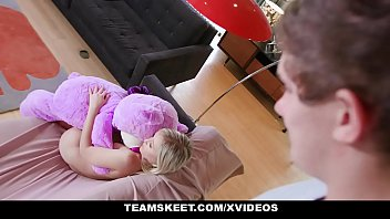Petite Blondie Natalia Queen Plays With Stuffed a. Until She Gets Stuffed